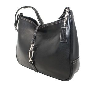 Coach Black Leather Hobo with Silver Hardware 7551
